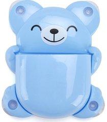 porta escova de dente le ursunho com ventosa azul
