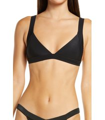 frankies bikinis georgia bikini top, size small in black at nordstrom