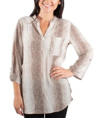 ny collection printed roll-tab tunic