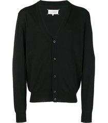 maison margiela elbow patch cardigan - black