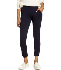women's hue 7/8 ponte leggings, size medium - blue
