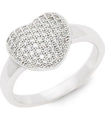 sterling silver simulated diamond heart pendant ring