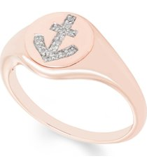 diamond (1/20 ct. t.w.) anchor signet ring in 14k yellow or rose gold
