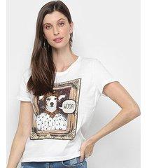 blusa mercatto quadro cachorro feminina