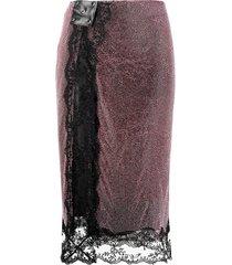 christopher kane crystal-embellished mesh midi skirt - pink
