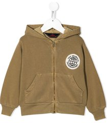 the animals observatory distressed zip-up hoodie - green