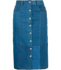 marine serre denim motif pattern straight skirt - blue