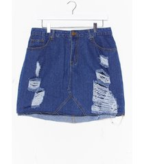 womens plus high waisted distressed skirt - mid blue