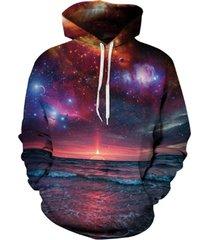 space galaxy 3d sweatshirts men/women hoodies with hat print stars nebula autumn