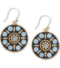 lucky brand gold-tone hammered mother-of-pearl circle drop earrings