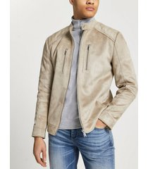 river island mens stone suedette racer jacket