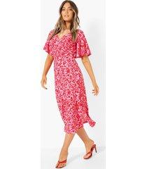 bloemenprint midi jurk met mouw franjes, pink