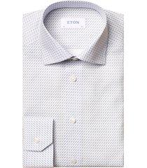 men's eton slim fit rocket print dress shirt, size 17 - blue