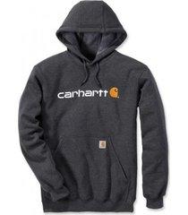 carhartt trui men signature logo hooded sweatshirt carbon heather-xl