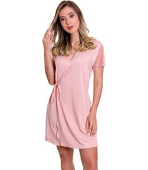 robe estilo sedutor em microfibra e renda rosa - es207 - rosa - feminino - dafiti