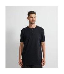 camiseta de pijama com gola portuguesa | viko | preto | gg