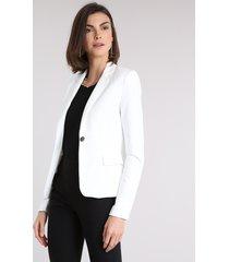 blazer feminino acinturado com bolsos off white