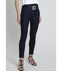 calça jeans feminina sawary skinny cintura alta com fivela e recorte azul escuro