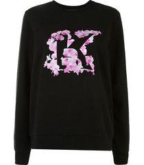 karl lagerfeld orchid print sweatshirt - black