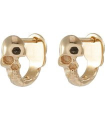 'skull' 10k yellow gold hoop earrings