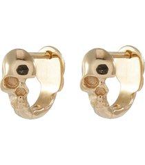 'skull' 10k yellow gold hoop earrings