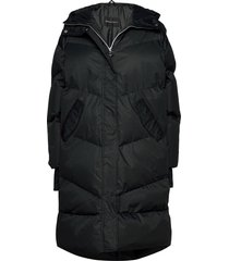 city trekker jacket gevoerde lange jas zwart röhnisch