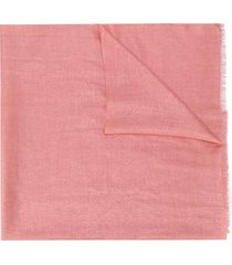 brunello cucinelli metallized frayed scarf - pink
