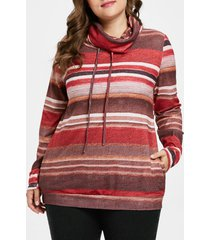 drawstring plus size striped sweatshirt