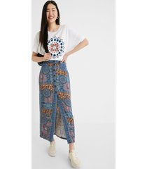 long jean skirt mandalas - blue - 42