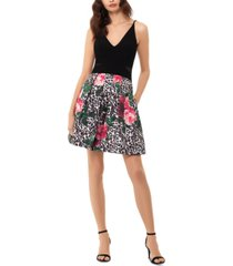 xscape mixed-print fit & flare dress