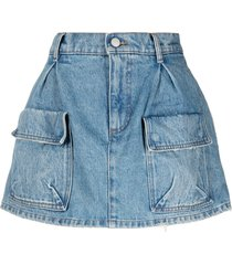 red valentino flared denim skort - blue