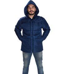 jaqueta carbella casaco impermeável acolchoado capuz removível azul marinho