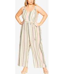 city chic trendy plus size wild stripe jumpsuit