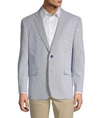 tommy hilfiger men's stripe stretch cotton sport jacket - blue white - size 40 l