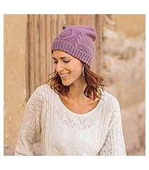 100% alpaca hat, 'antique lilac allure' (peru)