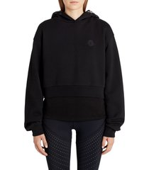 moncler logo hooded sweatshirt, size large in black at nordstrom
