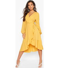 crepe ruffle wrap midi skater dress, mustard
