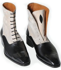handmade men two tone ankle boots, men dress boots, leather boot for men