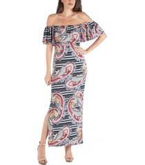 24seven comfort apparel off shoulder paisley stripe maxi dress with ruffle detail