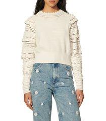 women's sandro junie mix stitch sweater, size 4 - white