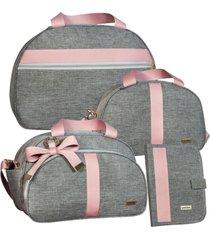 conj de bolsas maternidade 4 pc lyssa baby linho cor cinza e rosé