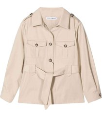 dolce & gabbana beige jacket with waist belt