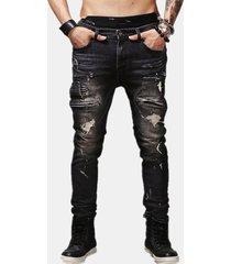 hip-hop ripped pantaloni knee zipper pocket cotton jeans per uomo