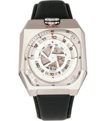 reign asher automatic genuine silver dial, black leather watch 47mm