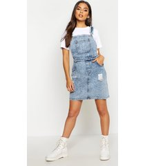 acid wash distressed denim pinafore dress, light blue