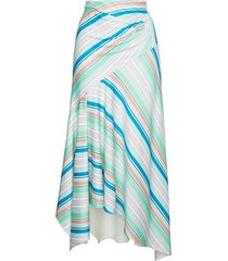 peter pilotto striped asymmetric jersey skirt - green