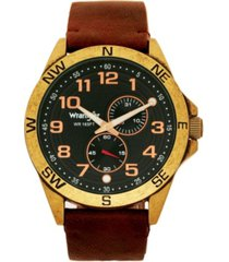 wrangler men's watch, 48mm antique brass plated case, compass directions on bezel, black dial, antiqued arabic numerals, multi function date and second hand subdials, brown leather strap