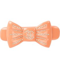 chanel pre-owned 2002 rhinestone-embellished bow hair clip - pink