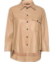 maria thin leather shirt långärmad skjorta beige mdk / munderingskompagniet