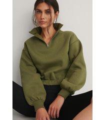 na-kd ekologisk tröja med dragkedja på ärmarna - green